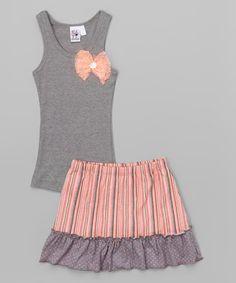Another great find on #zulily! Gray Bow Tank & Coral Stripe Skort - Toddler & Girls #zulilyfinds