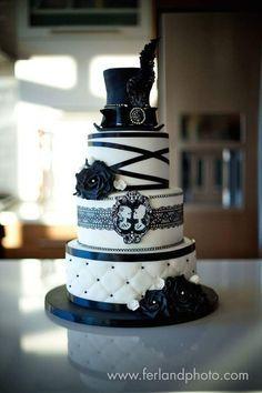 Black And White Wedding Cake  Black And White Wedding Cake Black and white wedding cake with hat and skull  #halloween #halloween-cake #wedding #cakecentral