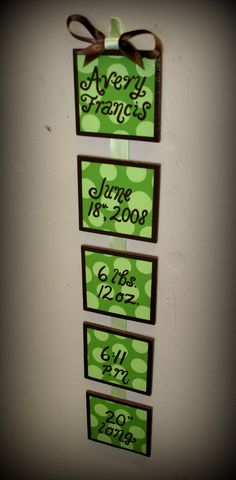 Birth Announcement wall hanging   wooden by SimplySignsByJessica, $30.00