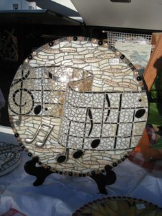 Dimensional mosaic wall hanging, music themed