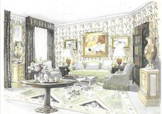 Nicky Haslam Design, watercolor | Interiors As Art