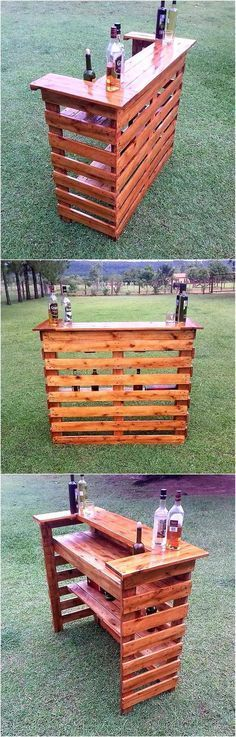 upcycled wood pallet bar. Tons of different projects for all parts of the house. really inspired for my future home.