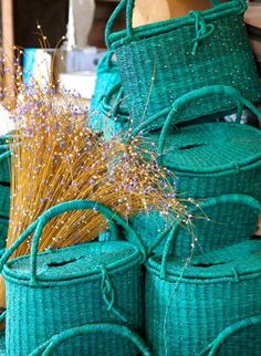 Baskets. Teal Ovarian Cancer Ribbon color  Sept is  OVCA awareness month...