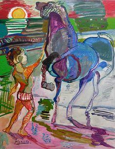 "EL MAR TE TIÑE DE AZUL  Jose Manuel merello.- ""Niño con caballo azul""  //  ""Child with blue boy""  (92x73 cm)Tecnica mixta sobre tabla  Art espagnol moderne. Peintres contemporains. http://www.merello.com"