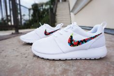 Womens Custom Nike Roshe Run sneakers, White on White nike roshe, trendy, stylish design, tribal pattern, All white shoes, lime, blue, kiwi colors