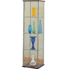 Amazon.com - Modern Contemporary Glass Curio Cabinet with Cappuccino Top and Bottom