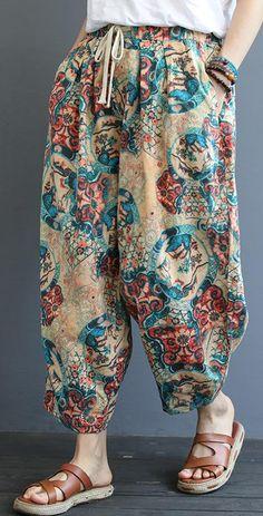 Diy cotton plus size printed casual wild loose harem pants Womens Linen Clothing, Linen Pants Women, Pants For Women, Clothes For Women, Stylish Dresses, Trendy Outfits, Fashion Pants, Fashion Outfits, Moda Hippie