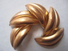 3 Vintage Heavy Brass Leaf Findings Toppers by StarPower99 on Etsy, $4.40