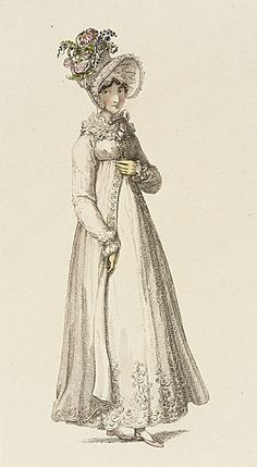 Ackermann's Repository, Morning Dress, August 1818. I love the flowerpot on her head!  I'm obsessed with paper flowers lately.