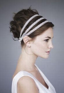 chignon + headband- love the lace Bride Hairstyles, Pretty Hairstyles, Greek Hairstyles, Updo Hairstyle, Grecian Hairstyles, Hairstyle Ideas, Perfect Hairstyle, Hairstyle Tutorials, Simple Hairstyles