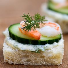 Baby sandwiches made of shrimp, brie cheese and cucumber are perfect for either lunch or an appetizer!