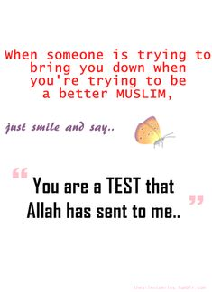 "When someone is trying to bring you down when you're trying to be a better MUSLIM, just smile and say. ""You are a TEST that Allah has sent to me. Islamic Inspirational Quotes, Islamic Quotes, Quran Quotes, Me Quotes, Qoutes, Allah God, All About Islam, Islamic Teachings, Islam Quran"