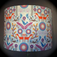 Nordic Forest fabric drum lampshade by birdandbuttonuk on Etsy