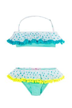 8739e4d0a1 Cute skirted bottom and bandeau top have been accentuated with color block  pompoms to make our