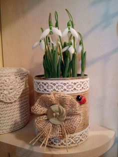 Handmade Ideas, Planter Pots, Winter, How To Make, Design, Home, Jute, Dressmaking, Decorating