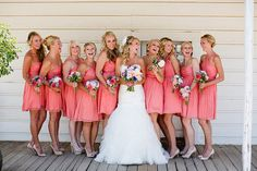 Pretty in pink. Photography by jen-rodriguez.com, Bridesmaid Dresses by jcrew.com