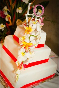 Tropical wedding cake - coral theme ... For a Wedding Cake Guide ... https://itunes.apple.com/us/app/the-gold-wedding-planner/id498112599?ls=1=8  ... The Gold Wedding Planner iPhone App.