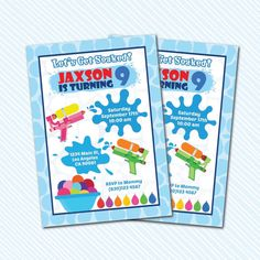 Digital Printable Water Game Birthday Invitation. Water Bash