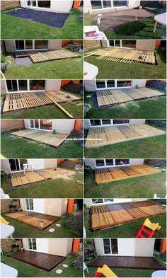 DIY Pallet Garden Terrace: plan step by step, # f. - DIY Pallet Garden Terrace: plan step by step, # for # … - Pallet Patio Decks, Backyard Patio Designs, Diy Deck, Small Backyard Landscaping, Backyard Projects, Diy Pallet Projects, Diy Patio, Outdoor Projects, Garden Pallet
