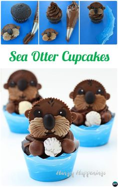 DIY Sea Otter Cupcakes-50 Most Surprising #Cupcake Decoration #Ideas and Recipes