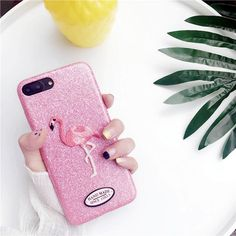 3D embroidery Flamingo Glitter phone cases for iphon