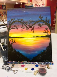 A sign it's going to be a lovely week! #LovelyLakeSunset Find this event: https://www.paintingwithatwist.com/paintings/lovely-lake-sunset-10855/