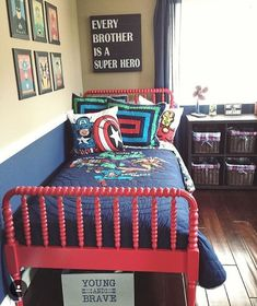 An awesome superhero room!Credit to @alexisparrino ... - Home Decor For Kids And Interior Design Ideas for Children, Toddler Room Ideas For Boys And Girls