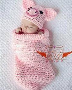 Encontrar Más Sombreros y Gorras Información acerca de Nuevo diseño de estilo cerdo rosado hechos a mano crochet accesorios de fotografía bebé de la alta calidad saco de dormir y un sombrero traje de la gorrita tejida, alta calidad bolso de la motocicleta, China beanie rosa Proveedores, barato bolsa de punto de Jerrial Fashion en Aliexpress.com