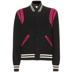 Saint Laurent Wool Bomber Jacket (125,565 INR) ❤ liked on Polyvore featuring outerwear, jackets, yves saint laurent, wool jacket, flight jacket, blouson jacket and bomber style jacket