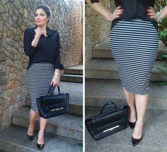 28e5a3d93 46 melhores imagens de Saia lapis listrada | Stripe skirt, Skirt ...