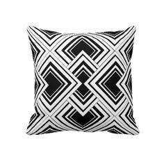 Black And White Art Deco Design Pillow