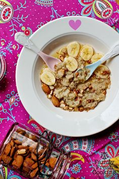 Maple Banana Toasted Almond Quinoa Recipe. Try it for Breakfast! on FamilyFreshCooking.com © MarlaMeridith.com