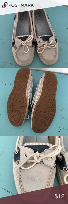 Sperry topsiders water shoes stripes and laced Minor markings as shown in last two photos.🛍🛒All offers on bundles will be considered Sperry Top-Sider Shoes