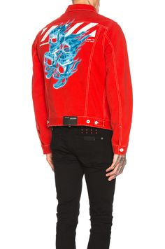 52d5bfe09cc5 OFF-WHITE OFF-WHITE SLIM DENIM JACKET IN RED.  off-white  cloth