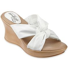 Strictly Comfort™ Pearl Leather Slide Sandals - jcpenney