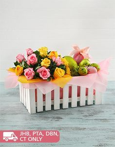 Buy Easter Picket Fence Basket Online - NetFlorist Online Florist, Easter Flowers, Mind Blown, Fence, Gifts, Stuff To Buy, Presents, Favors