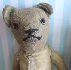 ANTIQUE STRAW STUFFED TEDDY BEAR WAS PLUSH AT ONE TIME
