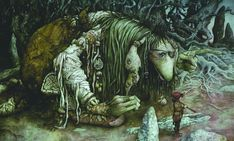 rare limited edition giclee print by Brian Froud . Illustration from his classic 1977 book The Land of Froud . #36 of 60, signed with an original sketch by the artist.