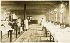 Nottingham General Hospital - Nurses and patients in a men's ward (During World War 1)