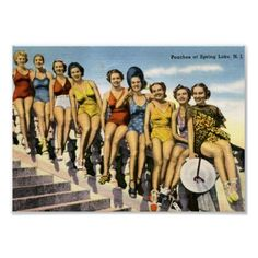 Vintage Miami Beach postcard Miami Florida bathing beauties linen Peaches in Miami Beach Floridiana kitsch souvenir Vintage Florida, Old Florida, State Of Florida, Miami Florida, Miami Beach, Sunny Beach, Costa, Peach Springs, Boston Public Library