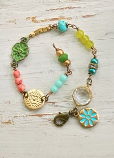 Maggie. colorful gypsy charm bohemian bracelet. by tiedupmemories