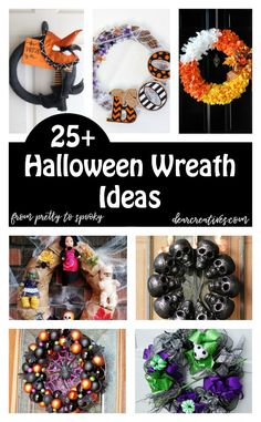 DIY Halloween Wreaths to Make For Your Home or Front Door. Must see Halloween wreath ideas to make! DIY Halloween Wreaths to Make For Your Home or Front Door. Must see Halloween wreath ideas to make! Halloween Projects, Halloween Crafts, Holiday Crafts, Holiday Wreaths, Halloween Ideas, Halloween Camping, Autumn Crafts, Halloween Halloween, Vintage Halloween