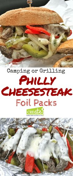 This healthy camping recipe is a foil packet recipe- a foil pack steak sandwich (ad) perfect for camping, cookouts, or can be made in the oven for a fun dinner idea.  #wisconsinbeefcouncil