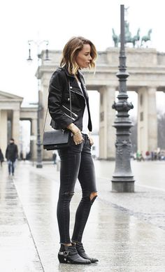 ripped skinnies + studded boots + leather jacket