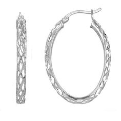 Sterling Silver Rhodium Finish Shiny Diamond Cut Weaved Oval Hoop Earrings Diameter 30mm >>> Check out this great product.