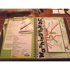 Smash Book page with foldable DC map with places visited and metro cards.