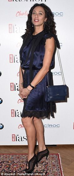 Party time: Zoe Hardman showed off her legs in a leather mini dress and statement heels wh...