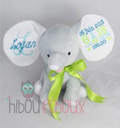 Personalized elephant   Www.hiboutchoux.com Elephants, Teddy Bear, Toys, Children, Animals, Activity Toys, Young Children, Animaux, Kids