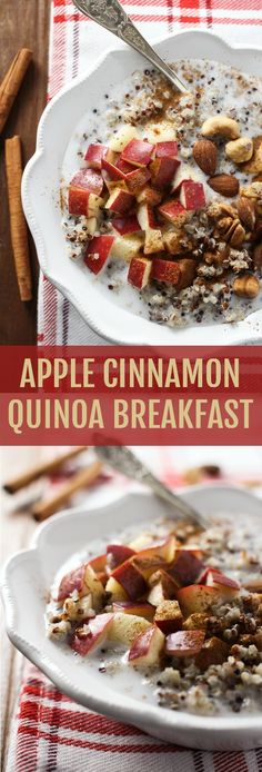 This Apple Cinnamon Quinoa Breakfast is very easy to put together. It's fill… This Apple Cinnamon Quinoa Breakfast is very easy to put together. It's filling and full of plant protein, fiber, healthy fat, vitamins, and nutrients. Quinoa Breakfast Bowl, Breakfast And Brunch, Healthy Breakfast Recipes, Breakfast Ideas, Protein Breakfast, Healthy Filling Breakfast, Breakfast Porridge, Plant Based Breakfast, Healthy Desayunos