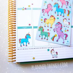 Unicorn Stickers at http://plannerthings.com